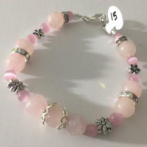 Jewelry - Pink pastel healing stone rhinestone bracelet